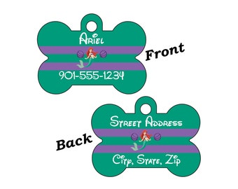 Disney Little Mermaid Ariel 2-SIDED Pet Id Tag for Dogs and Cats Personalized for your Pet