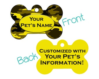 Double Sided Camo Pet Id Dog Tag | Yellow and Black | Personalized for your Pet!