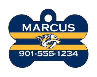 Nashville Predators Pet Id Dog Tag | Personalized w/ Your Pet's Name & Number