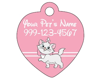 Disney Aristocats Marie Pet Id Cat Tag Personalized w/ Your Pet's Name and Number
