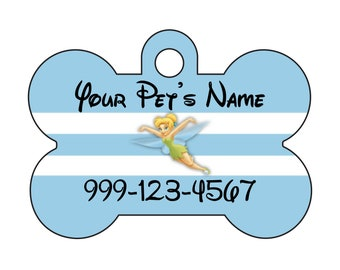 Disney Princess Tinkerbell Pet Id Dog Tag Personalized w/ Your Pet's Name & Number