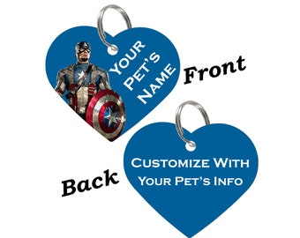 Captain America Double Sided Pet Id Dog Tag Personalized for your Pet
