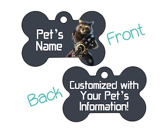 Rocket Raccoon | Disney Guardians of the Galaxy Double Sided Pet Id Dog Tag | Personalized for Your Pet
