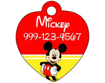 Disney Mickey Mouse Pet Id Tag for Dogs and Cats Personalized w/ Your Pet's Name & Number