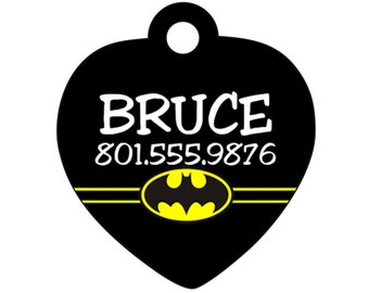 Batman Pet Id Tag for Dogs and Cats Personalized w/ Your Pet's Name & Number