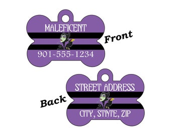 Disney Sleeping Beauty Maleficent 2-SIDED Pet Id Tag for Dogs and Cats Personalized for your Pet