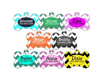 Personalized Dog Tag Pet Id Tag, Colorful Chevron w/ Your Pets Name and Number
