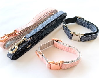 Cute Nylon Dog Collar and Leash, Available w/ Metal and Rose Gold Buckles!