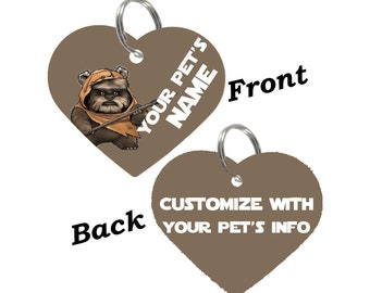 Disney Star Wars Ewok Double Sided Pet Id Tag for Dogs & Cats Personalized for Your Pet
