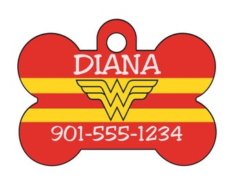 Wonder Woman Pet Id Dog Tag Personalized w/ Your Pet's Name & Number