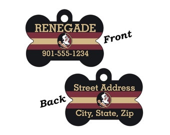 Florida State Seminoles Double Sided Pet Id Dog Tag Personalized for your Pet