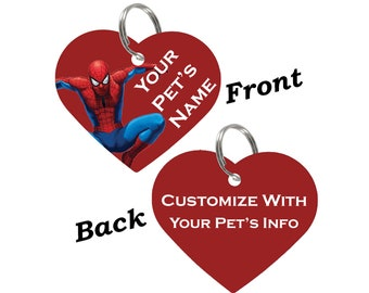 Spiderman Double Sided Pet Id Tag for Dogs & Cats Personalized for Your Pet