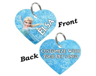 Disney Frozen Elsa Double Sided Pet Id Tag for Dogs & Cats Personalized for Your Pet