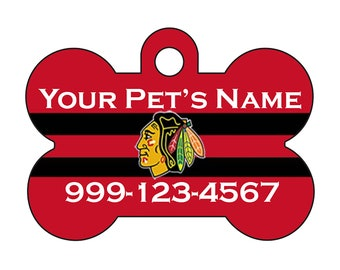 Chicago Blackhawks Pet Id Dog Tag Personalized w/ Your Pet's Name and Number