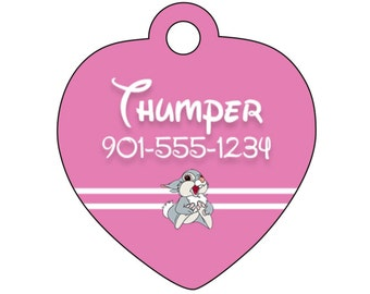 Disney Bambi Thumper Pet Id Tag for Dogs and Cats Personalized w/ Your Pet's Name & Number