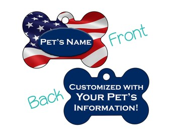 USA Flag Patriotic Double Sided Pet Id Dog Tag | Personalized w/ 4 Lines of Text