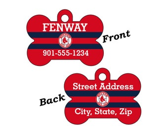 Boston Red Sox Double Sided Pet Id Tag for Dogs and Cats Personalized w/ 4 Lines of Text