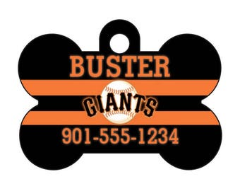 San Francisco Giants Custom Pet Id Dog Tag Personalized w/ Your Pet's Name and Number