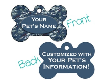 Camo Double Sided Pet Id Dog Tag | Arctic Digital Camo | Personalized for your Pet!