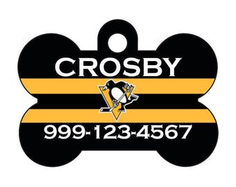 Pittsburgh Penguins Pet Id Dog Tag Personalized w/ Your Pet's Name and Number