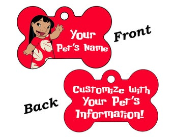 Disney Lilo Double Sided Pet Id Dog Tag Personalized w/ 4 Lines of Text