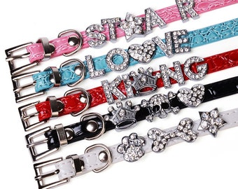 Customizable Leather Collar w/ Rhinestones Personalized for Your Pet
