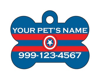 Captain America Pet Id Dog Tag Personalized w/ Your Pet's Name & Number