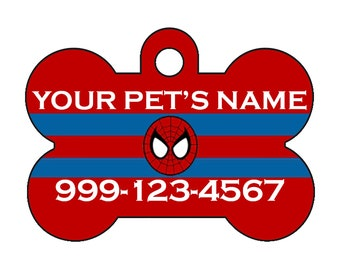 Spiderman Pet Id Dog Tag Personalized for Your Pet
