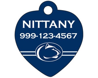 Penn State Nittany Lions Custom Pet Id Tag for Dogs and Cats Personalized w/ Name & Number