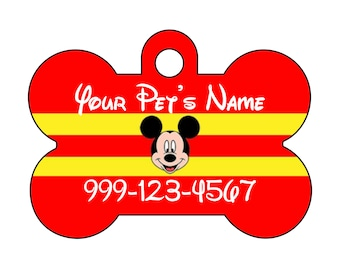 Disney Mickey Mouse Pet Id Dog Tag Personalized w/ Your Pet's Name & Number