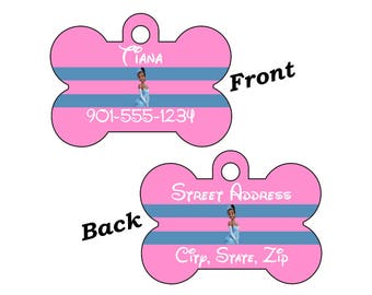 Disney Princess Tiana 2-SIDED Pet Id Tag for Dogs and Cats Personalized w/ 4 Lines of Text