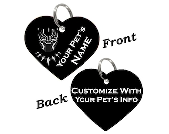 Disney Black Panther T'Challa Double Sided Pet Id Tag for Dogs & Cats Personalized for Your Pet