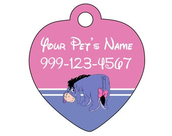 Disney Eeyore Pet Id Tag for Dogs and Cats Personalized w/ Your Pet's Name & Number