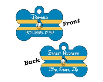 Disney Donald Duck 2-SIDED Pet Id Tag for Dogs and Cats Personalized for your Pet