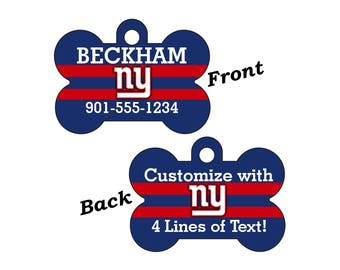 New York Giants Double Sided Pet Id Tag for Dogs and Cats Personalized w/ 4 Lines of Text