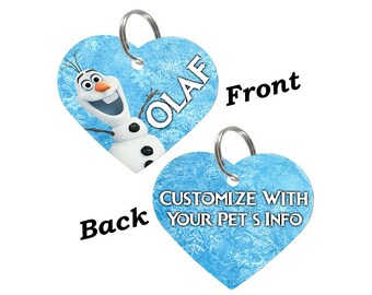 Disney Frozen Olaf Double Sided Pet Id Tag for Dogs & Cats Personalized for Your Pet