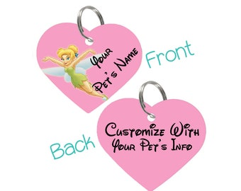 Disney Tinkerbell Double Sided Pet Id Tag for Dogs & Cats Personalized for Your Pet