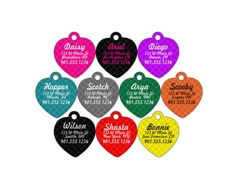 Dog Tag Pet ID Tag Colorful Personalized w/ Your Pet's Name, Number, & Address