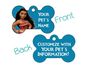 Disney Moana Double Sided Pet Id Dog Tag Personalized for Your Pet