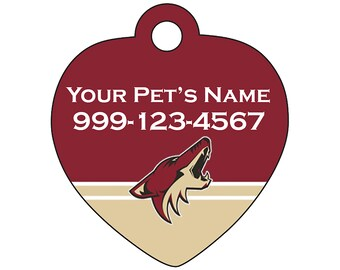 Arizona Coyotes Pet Id Tag for Dogs & Cats | Personalized for Your Pet | Fits all Dogs and Cats!