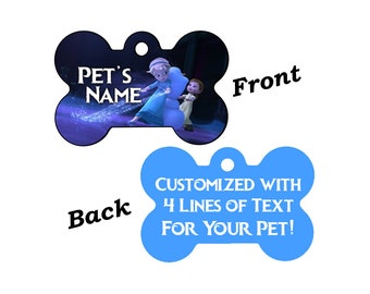 Disney Frozen Double Sided Pet Id Tag for Dogs and Cats Personalized w/ 4 Lines of Text
