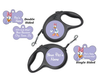 Disney Daisy Duck Pet Id Dog Tags & Retractable Leash Personalized for Your Pet
