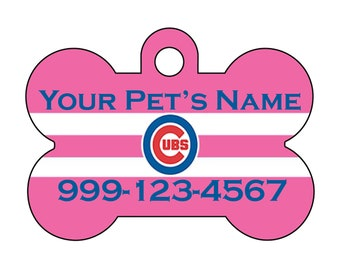 Chicago Cubs Pink Pet Id Dog Tag Personalized w/ Your Pet's Name and Number