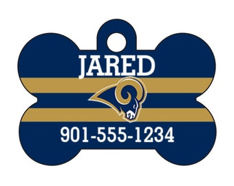 Los Angeles Rams Pet Id Dog Tag Personalized w/ Your Pet's Name and Number