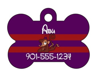 Disney Aladdin Abu Dog Tag Pet Id Personalized w/ Your Pet's Name and Number
