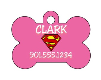 Superman Pink Pet Id Tag for Dogs and Cats Personalized w/ Name & Number