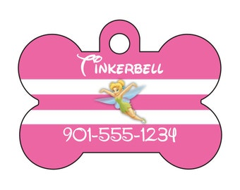Disney Princess Tinkerbell Custom Pet Id Dog Tag Personalized w/ Your Pet's Name & Number