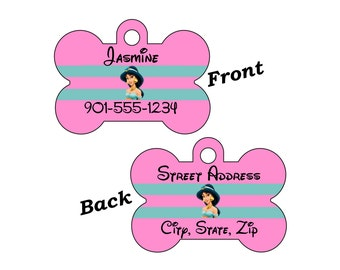 Disney Princess Jasmine Custom Double Sided Pet Id Dog Tag Personalized for your Pet