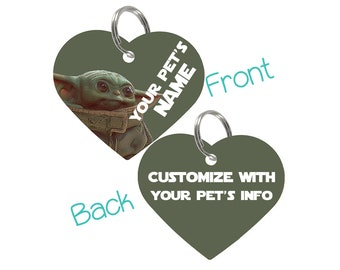 Baby Yoda The Mandalorian Double Sided Pet Id Tag for Dogs & Cats Personalized for Your Pet
