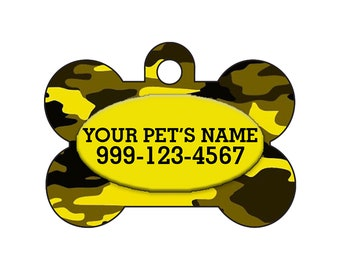 Fashionable Cute Yellow and Black Camo Pet Id Dog Tag Personalized for Your Pet